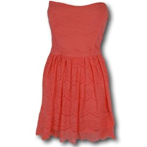 Forever21 Coral Strapless Lace Dress M